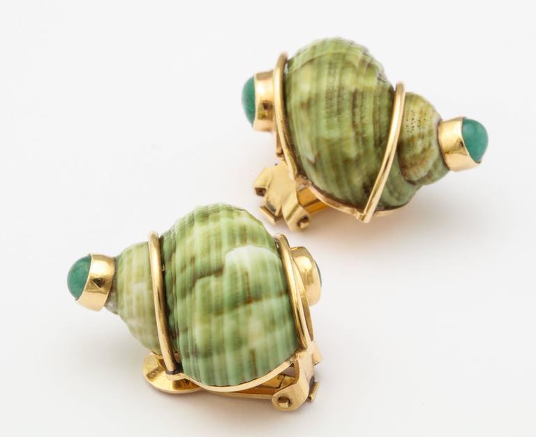 Seaman Schepps Green Sea Shell Emerald Ear Clips For Sale 1