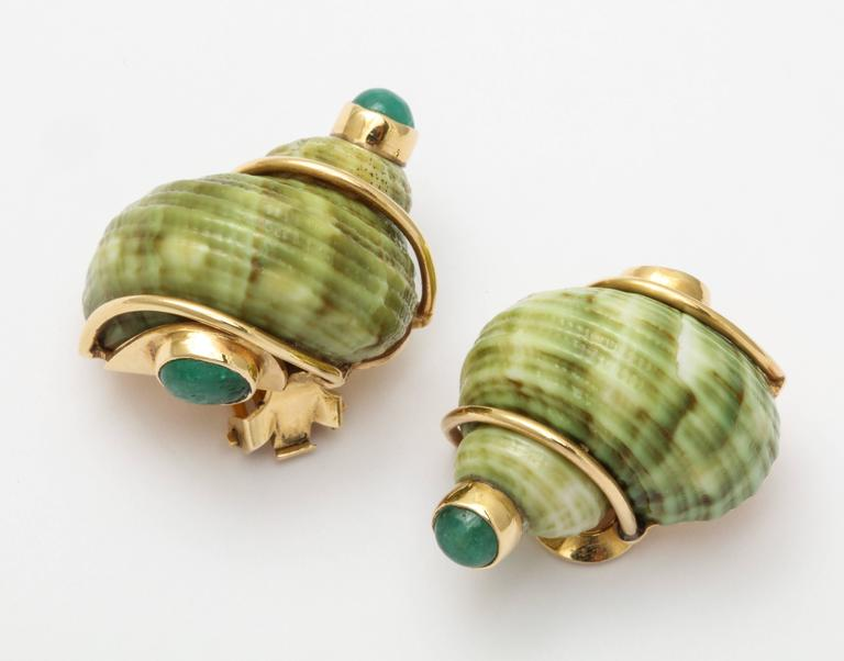 Women's Seaman Schepps Green Sea Shell Emerald Ear Clips For Sale