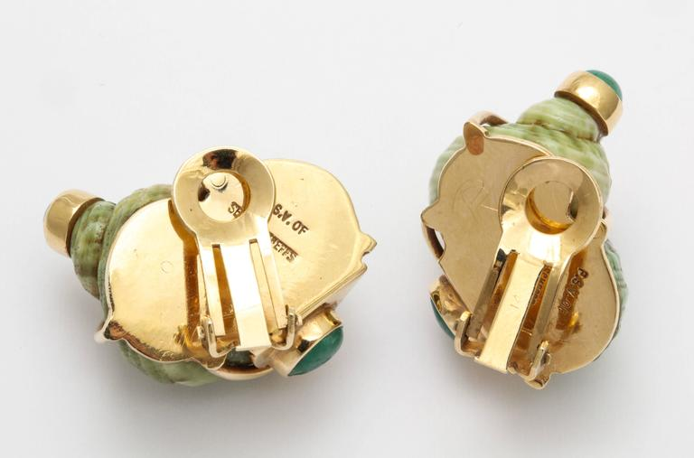 Seaman Schepps Green Sea Shell Emerald Ear Clips For Sale 2