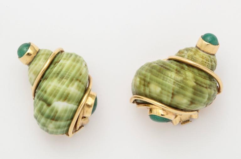 Seaman Schepps Green Sea Shell Emerald Ear Clips For Sale 3