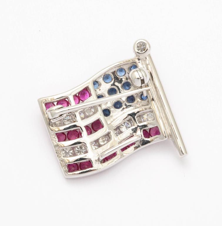 Diamond Sapphire Ruby American Flag Lapel Pin 4