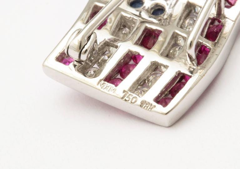 Diamond Sapphire Ruby American Flag Lapel Pin 5