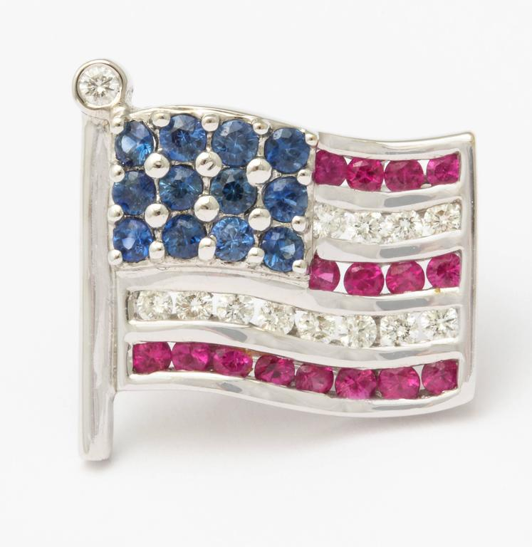 Diamond Sapphire Ruby American Flag Lapel Pin For Sale 2