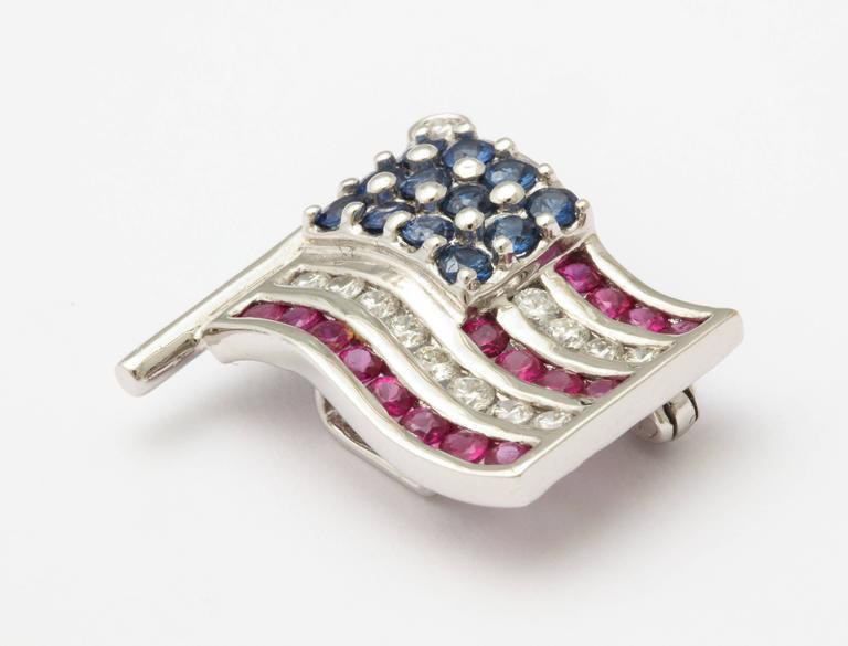 Diamond Sapphire Ruby American Flag Lapel Pin 2