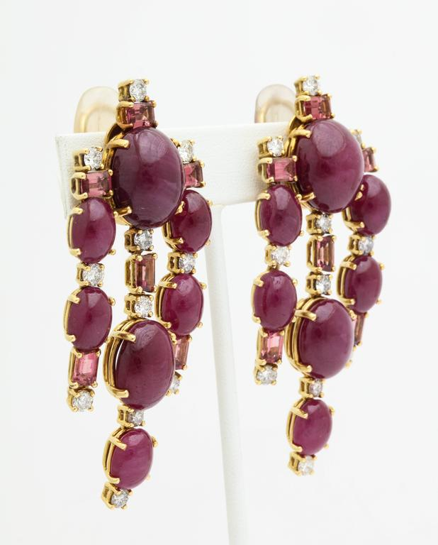 Dramatic Tony Duquette Drop Earrings Of 18k Gold Set With Large Cabochon Rubies Diamonds And