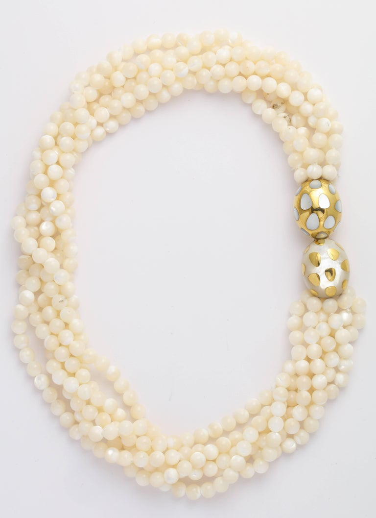 Angela Cummings Tiffany Positive Negative Mother-of-Pearl Necklace and Ear Clips In Excellent Condition For Sale In New York, NY
