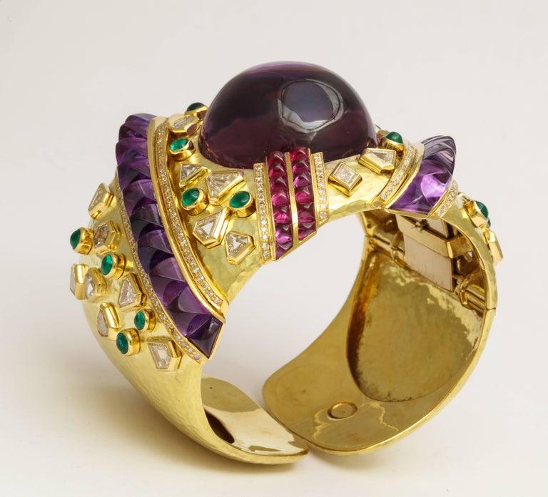 Demner Convertible Emerald to Amethyst Diamond Gemstone Gold Bracelet 3