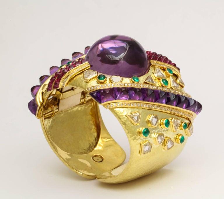 Demner Convertible Emerald to Amethyst Diamond Gemstone Gold Bracelet 1