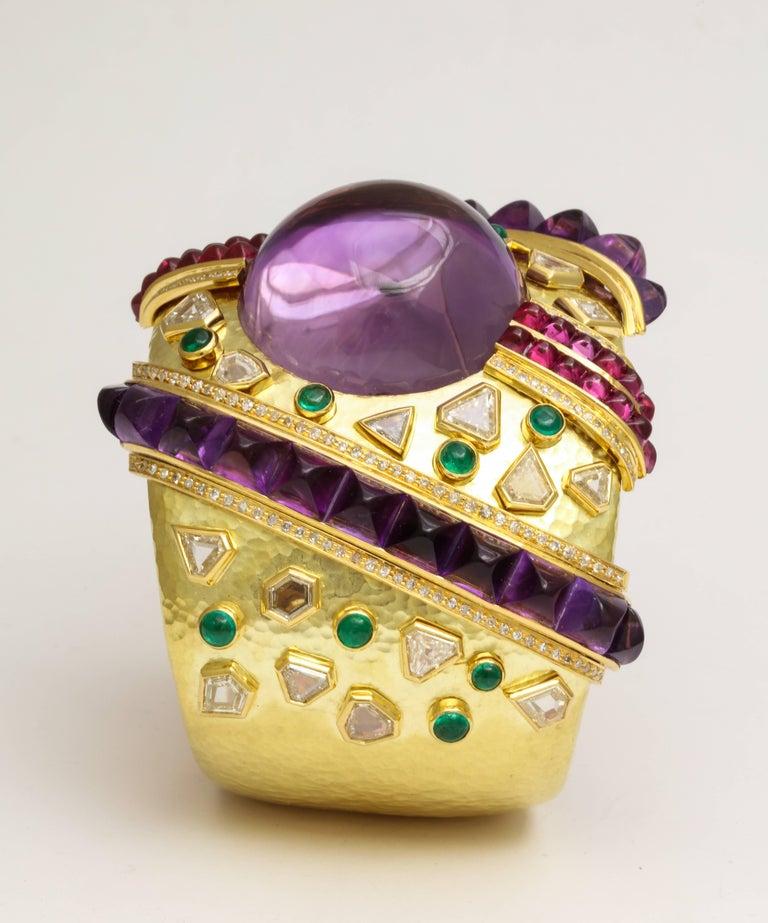 Demner Convertible Emerald to Amethyst Diamond Gemstone Gold Bracelet 2