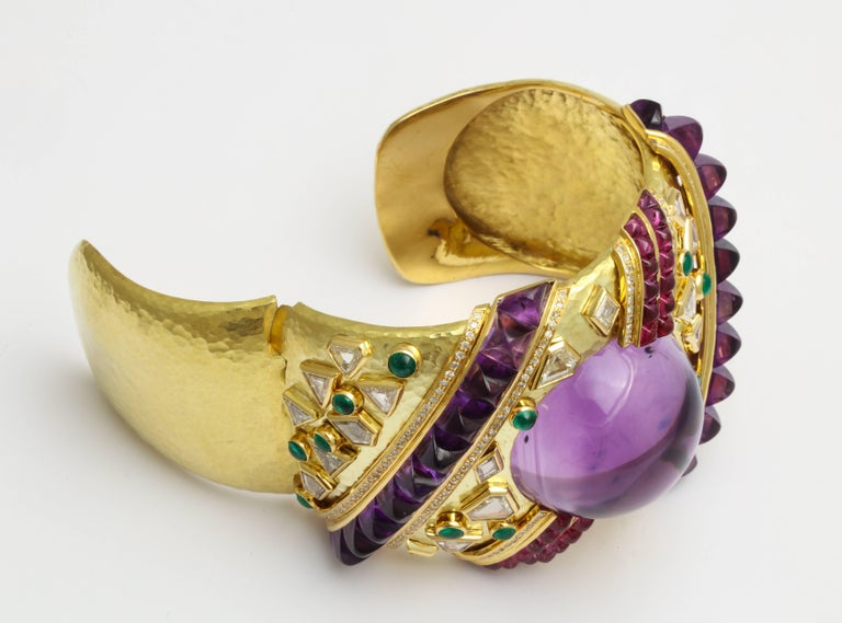 Demner Convertible Emerald to Amethyst Diamond Gemstone Gold Bracelet 4
