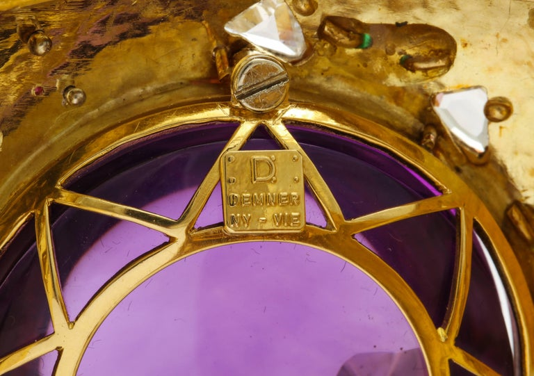 Women's Demner Convertible Emerald to Amethyst Diamond Gemstone Gold Bracelet