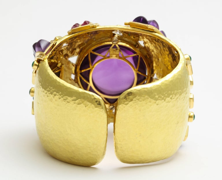 Demner Convertible Emerald to Amethyst Diamond Gemstone Gold Bracelet 5