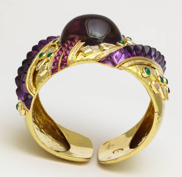 Demner Convertible Emerald to Amethyst Diamond Gemstone Gold Bracelet 6