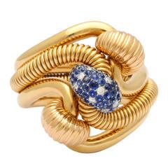 Illario 1940 Retro Sapphire Diamond Gold Bracelet