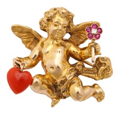 1950s Paltscho Vienna Gold Cherub Brooch in Box