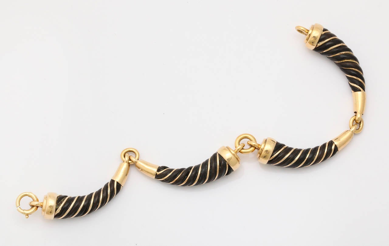 Elephant hair bracelet with gold for men - photo#5