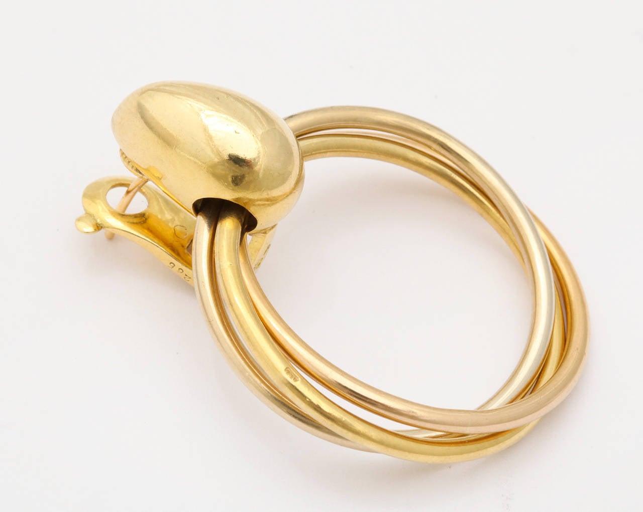 1980s Cartier Paris Gold Triple Loop Ear Clips 5