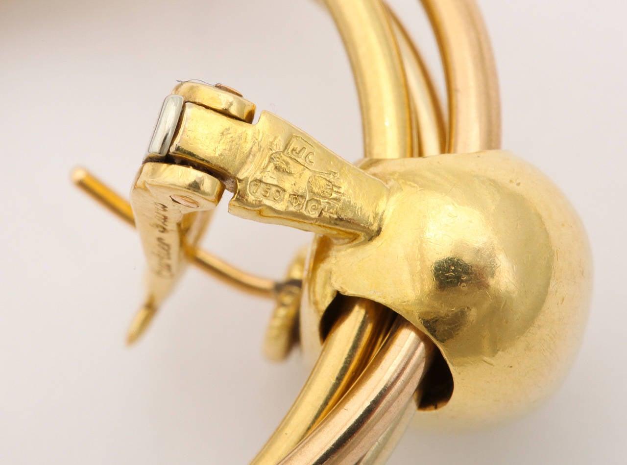 1980s Cartier Paris Gold Triple Loop Ear Clips 6