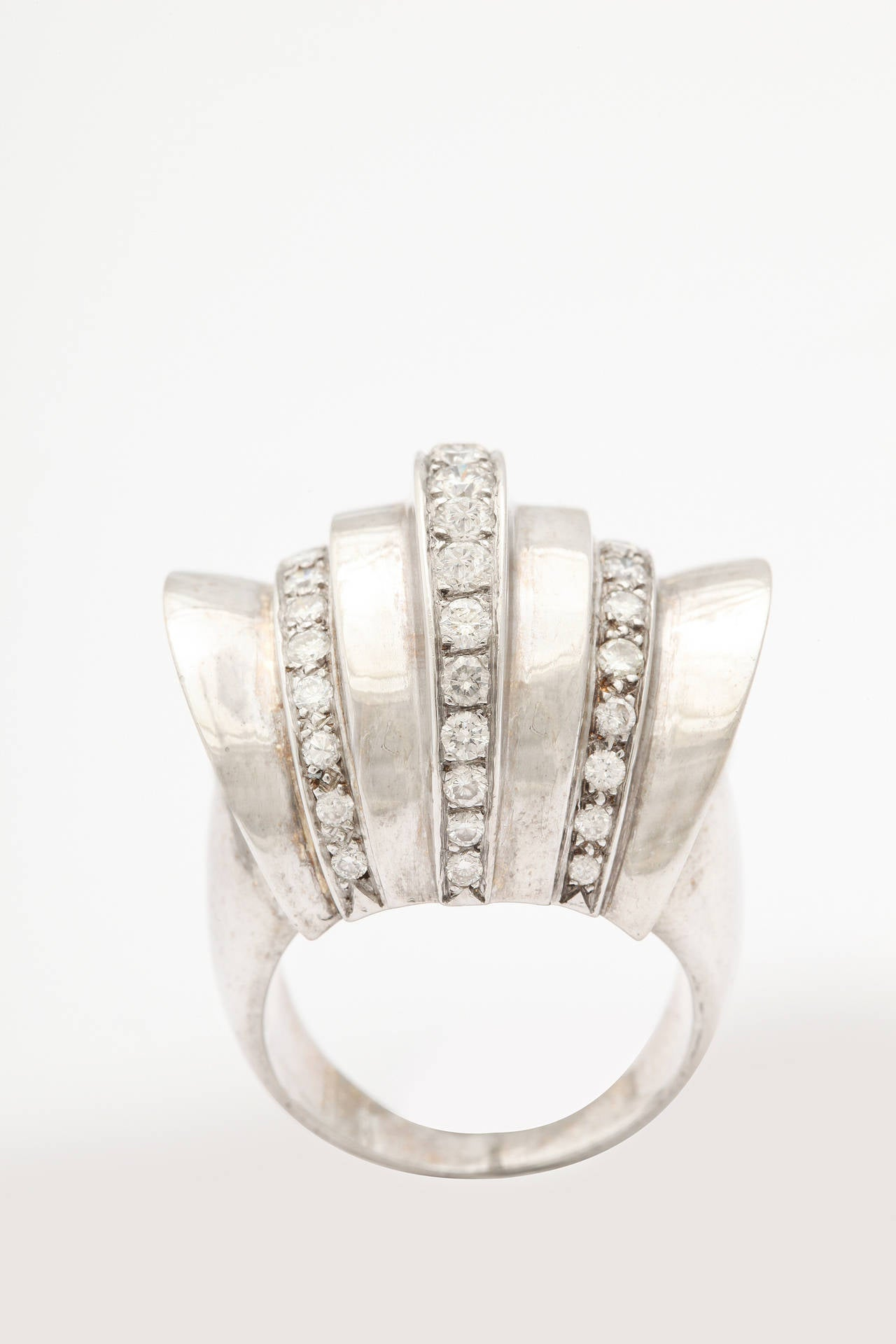 Women's 1940s Retro Diamond Gold Cocktail Ring For Sale