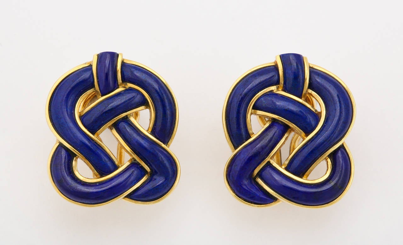 1989 Tiffany & Co. Angela Cummings Lapis Gold Braided Knot Ear Clips 5