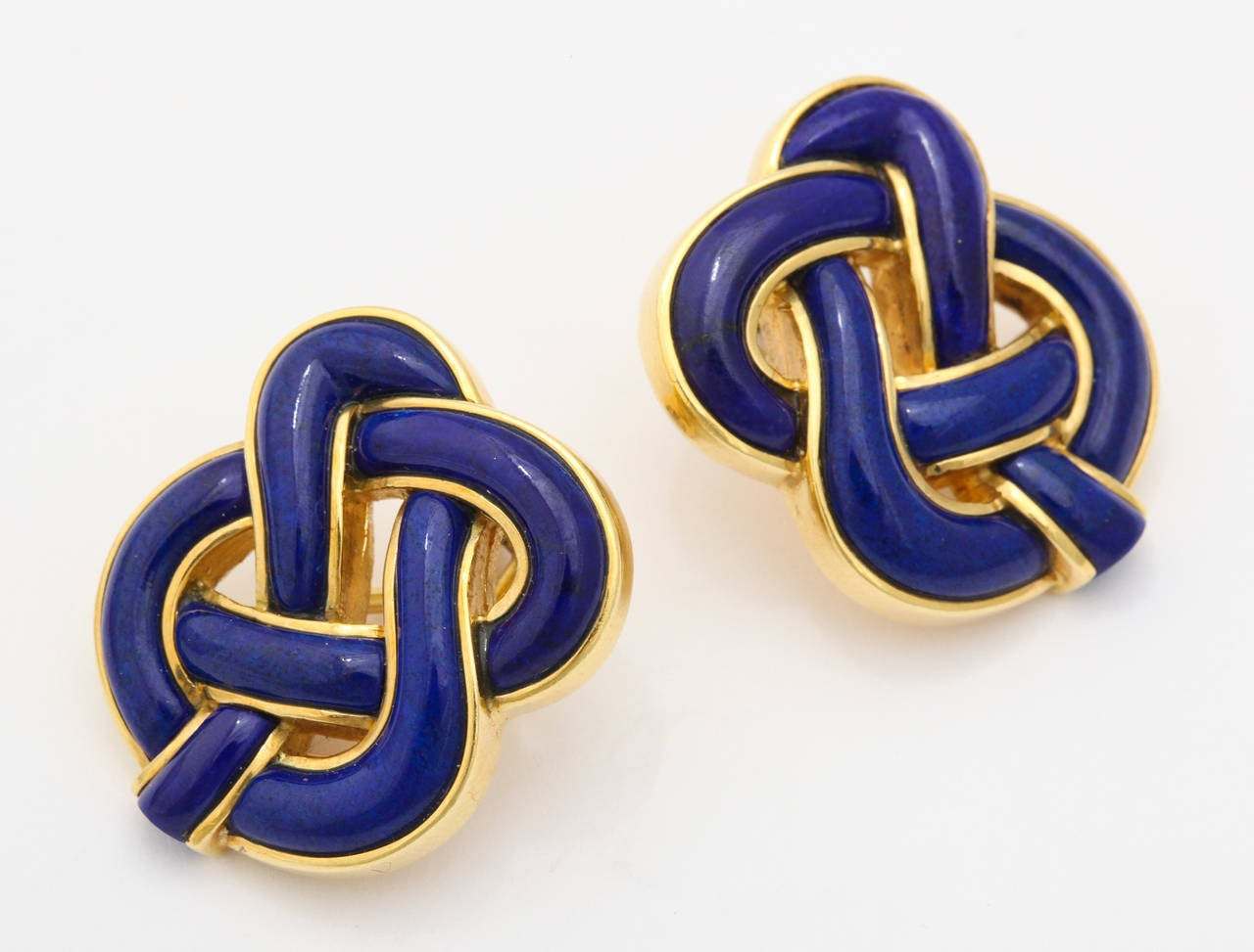 1989 Tiffany & Co. Angela Cummings Lapis Gold Braided Knot Ear Clips 6