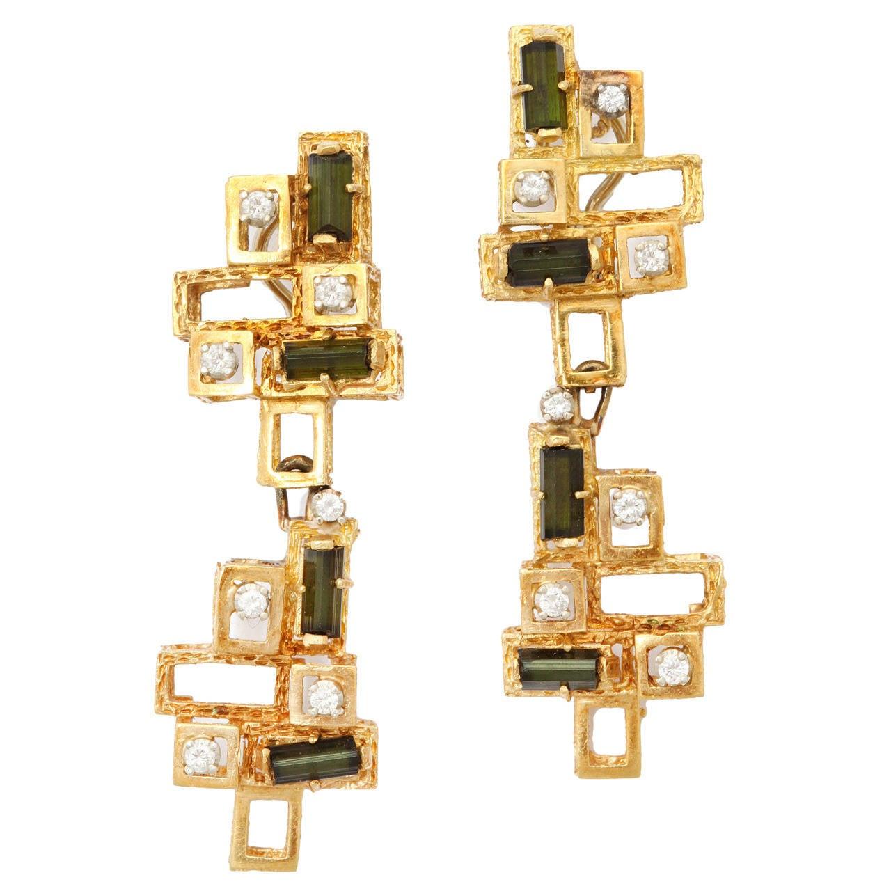 1960s Chantecler Diamond Tourmaline Gold Earrings