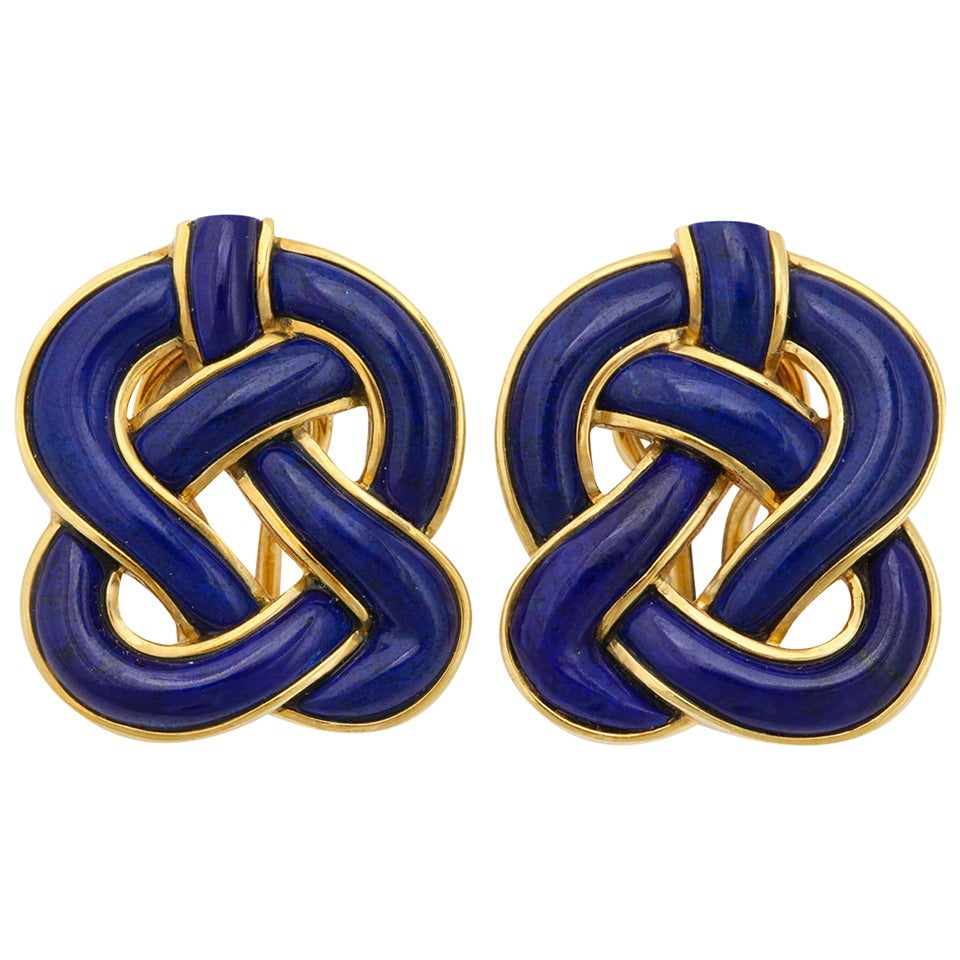 1989 Tiffany & Co. Angela Cummings Lapis Gold Braided Knot Ear Clips 1