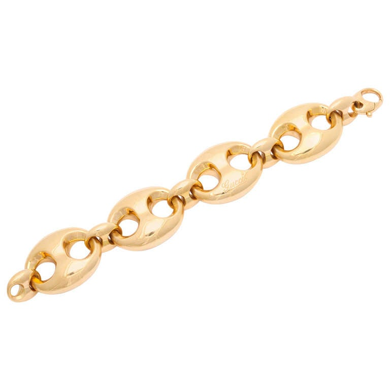 gucci 2007 season large link gold bracelet at 1stdibs
