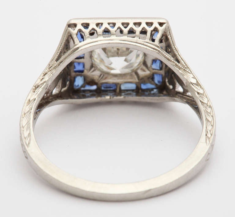 1923 Tiffany Diamond Sapphire and Platinum Wedding Engagement Ring at 1stdibs