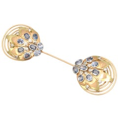 1940s French Retro Sapphire Diamond Tri-Color Gold Jabot Pin