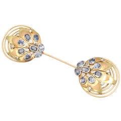 1940s French Retro Sapphire Diamond Tri-Color Gold Jabot Pin