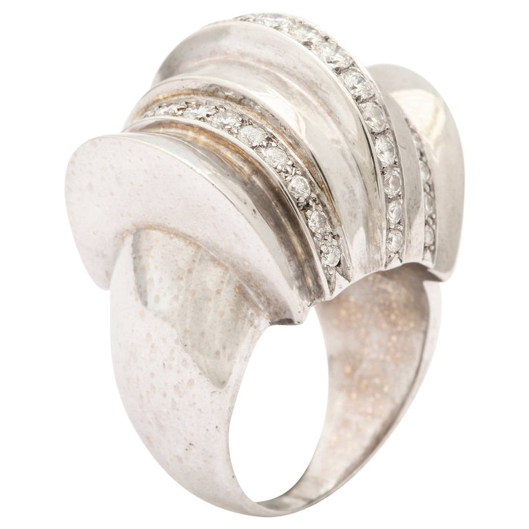 1940s Retro Diamond Gold Cocktail Ring For Sale