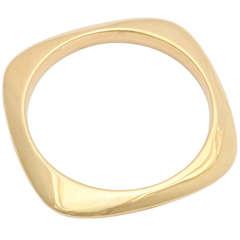 1990s Tiffany Gold Square Bangle Bracelet