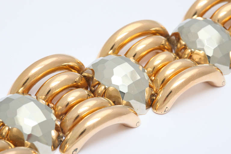 Italian Rose Gold and Faceted Grey Gold Bracelet In Excellent Condition For Sale In New York, NY