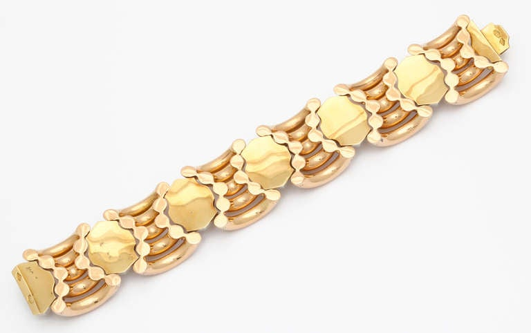 Women's Italian Rose Gold and Faceted Grey Gold Bracelet For Sale