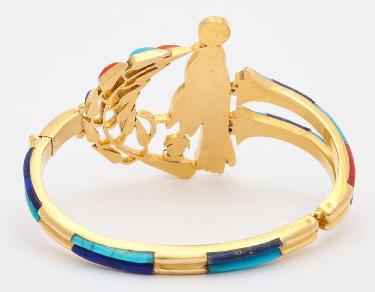 1972  Egyptian Revival Tutankhamun Coral Lapis Turquoise Gold Bracelet 7