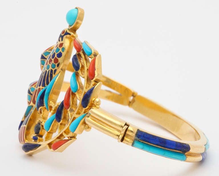 1972  Egyptian Revival Tutankhamun Coral Lapis Turquoise Gold Bracelet 8