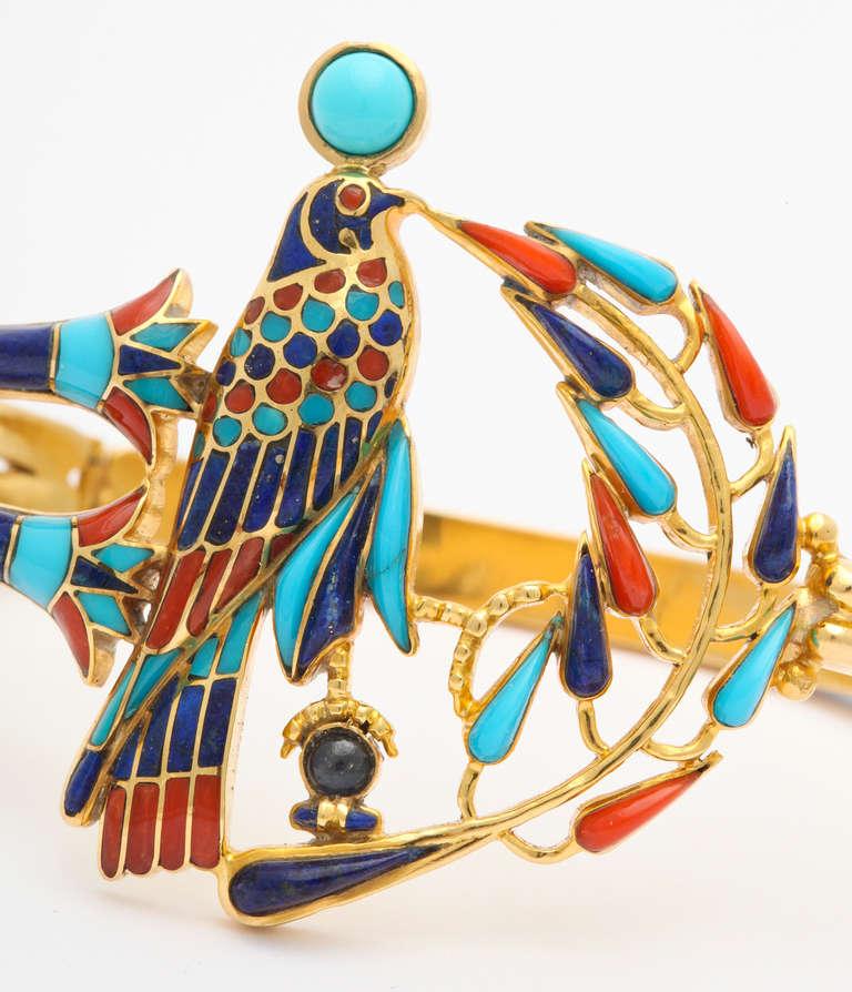 1972  Egyptian Revival Tutankhamun Coral Lapis Turquoise Gold Bracelet 3