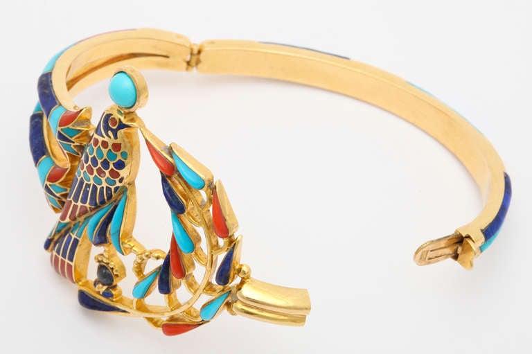 1972  Egyptian Revival Tutankhamun Coral Lapis Turquoise Gold Bracelet 2