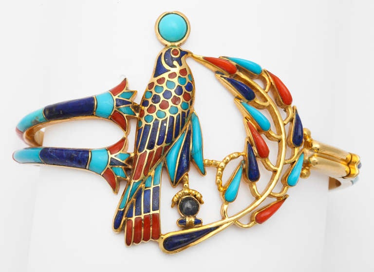 1972  Egyptian Revival Tutankhamun Coral Lapis Turquoise Gold Bracelet 5