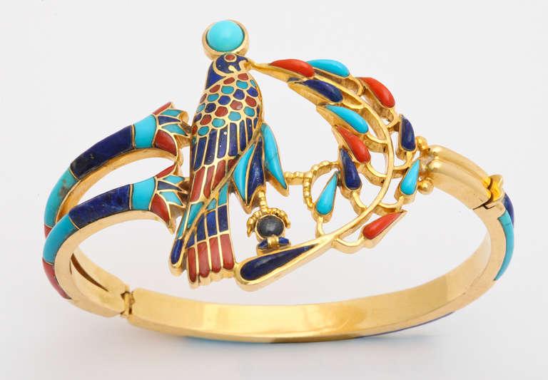1972  Egyptian Revival Tutankhamun Coral Lapis Turquoise Gold Bracelet 6