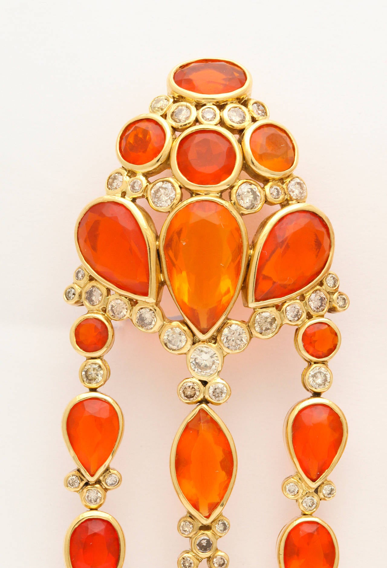 2007 Marilyn Cooperman Fire Opal and Diamond Gold Ear Clips In As New Condition For Sale In New York, NY