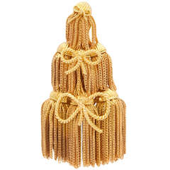 1970s Tiffany & Co. Tassels and Bows Gold Fringe Brooch