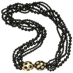 1980s Angela Cummings Tiffany Black Jade Positive - Negative Necklace