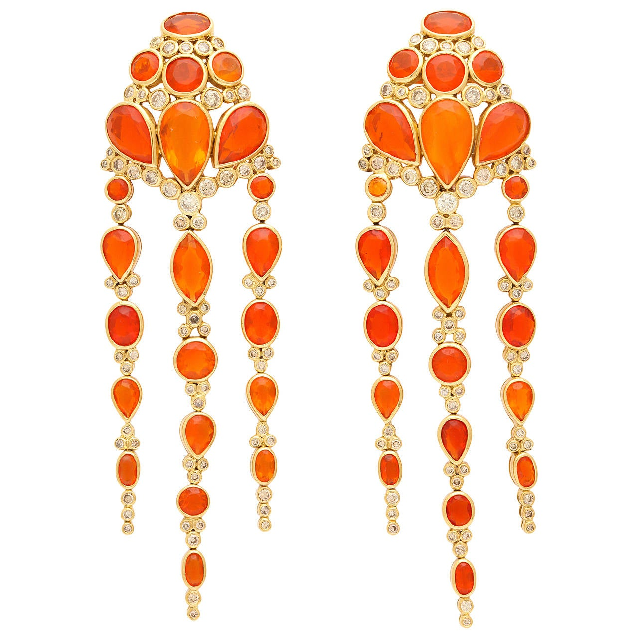 2007 Marilyn Cooperman Fire Opal and Diamond Gold Ear Clips