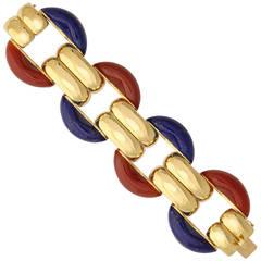 2015 Kenneth James Carved Lapis Carnelian Gold Link Bracelet