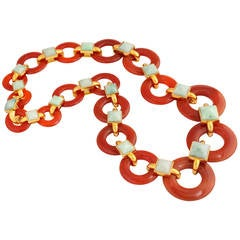 1970s Aldo Cipullo Carved Carnelian Jade Gold Link Necklace