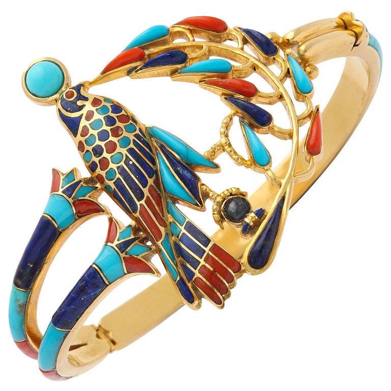 1972  Egyptian Revival Tutankhamun Coral Lapis Turquoise Gold Bracelet 1