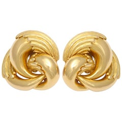 1970s Cartier Paris Eagle Claw Gold Ear Clips