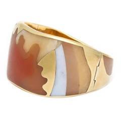 Tiffany & Co. Inlaid Carved Hardstone Gold Bracelet